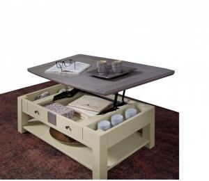 M Table basse dinette L105 H40 P63cm plateau relevé