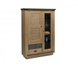 M Vitrine 1 porte vitrée 1 bois 2 tiroirs L117 H171 P45cm