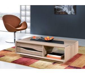C Table basse 1 tiroir L120X67cm hauteur 35cm. En chêne incrustation céramique.