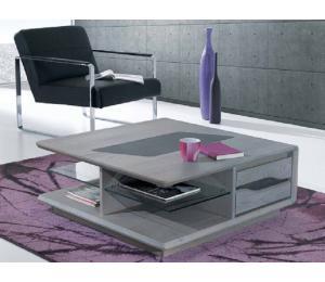 C Table basse 90x90cm hauteur 35cm. En chêne incrustation céramique.