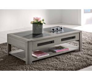 D Table basse 1 tiroir L120x67cm Hauteur 40cm. En chêne incrustation céramique.