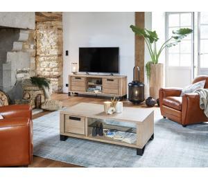 H Ensemble TV Table basse 1 tiroir va et vient L120 H42 P67cm. Meuble TV 2 portes 1 niche avec tablette fixe L160 H60 P42cm.  Se réalise en L120 H60 P42cm 1 porte 1 niche avec 1 tablette fixe.
