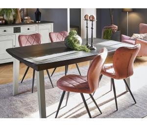 S Table Pieds Bois ou Pieds Métal L170x107cm + 1 allonge portefeuille de 60cm ou L200x107cm +2 allonges portefeuille de 46cm.