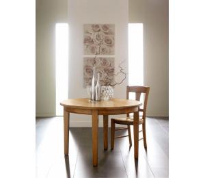 Table ronde diamètre 105 ou 115cm + 2 allonges de 45cm Pieds au choix fuseaux, chanfreinés ou tournés.