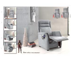 Fauteuil T à vos mesures. 5 versions de relaxation (Manuel, 1 moteur, 2 moteurs, Releveur 1  ou 2 moteurs)  (3 largeurs d'assise, 3 hauteurs d'assise, 3 profondeurs d'assise, 3 hauteurs de dossier, 4 conforts d'assise, avec ou sans boiserie)