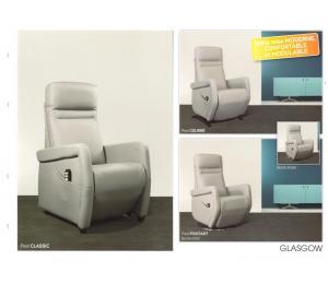 Fauteuils G possibilité de 5 versions de relaxation (Manuel, 1 moteur, 2 moteurs, Releveur 1 moteur ou releveur 2 moteurs) 3 largeurs d'assise, 4 conforts d'assise, 4 piétement au choix.
