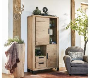 H Bibliothèque 2 portes, 2 tiroirs, 2 niches L100 H184 P42cm