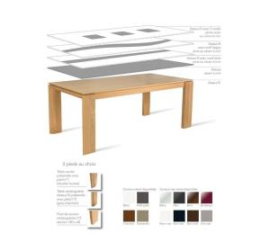 Table BAKOU avec différents plateaux. Réalisable en 140/160/180/200/220/250 x 100cm avec 2 allonges de 40cm pour tables en 140/160cm et 50cm pour tables en 180/200/220/250cm. Se réalise aussi en 140x140 cm + 2 allonges de 40cm
