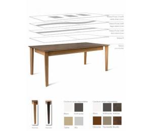 Table ZAMAK avec différents plateaux. Réalisable en 160/180/200/220x100cm+ 1 allonge portefeuille de 100cm ou 1, 2 ou 3 allonges de 45cm