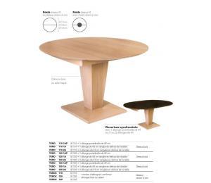Table KEOPS ronde Diamètres 110/120cm ou 130 1 allonge portefeuille de 49cm ou 1 ou 2 allonges rangées hors de la table de 45cm