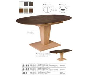 Table KEOPS Ovale 1 allonge portefeuille de 49 cm ou 1 ou 2 allonges de 45cm à ranger hors de la table pour table en 140x100cm et  rangées dans la table pour le format 160x100cm.