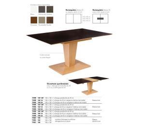 Table KEOPS rectangulaire 140/160/180 X100cm + 1 allonge portefeuille de 49cm ou 1 ou 2 allonges de 45 cm rangées dans la table