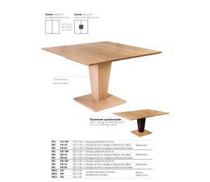 Table KEOPS carrée 110x110/120x120/130x130cm 1 allonge portefeuille de 49cm ou 1 ou 2 allonges de 45cm à ranger hors de la table