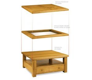 Table basse carrée 100x100cm pieds droits, Dessus bois, dessus à panneaux ou dessus verre trempé alaisé chêne. 1 tiroir va-et vient.
