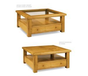 Table basse carrée 100x100cm, pieds droits, dessus verre trempé alaisé, dessus à panneaux. 1 tiroir va-et-vient.