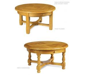 Table de salon ronde diamètre 85cm, pieds tournés ou chanfreinés, avec un tiroir