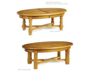 Table ovale 120x75cm pieds tournés ou chanfreinés. avec ou sans tiroir.
