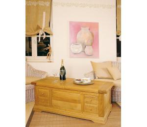 Table de salon coffre, 130x65cm, pieds droits et plinthes, 2 tiroirs va-et-vient. Doubles façades, plateau ouvrant. Aménagement bar.