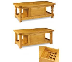 Table de salon 130x65cm, pieds droits ou pieds tournés et plinthes, 2 niches, plateau ouvrant. Aménagement bar.
