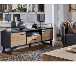 Meuble TV 2 portes, 1 tiroir, 1 niche L180 H60 P42cm