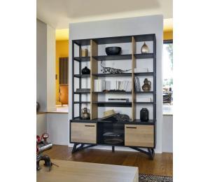 Meuble TV 2 portes, 1 niche L150 H60 P42cm. Etagère à poser sur meuble TV en L150 ou en L180 dimension avec étagère:L150 H144 P33cm