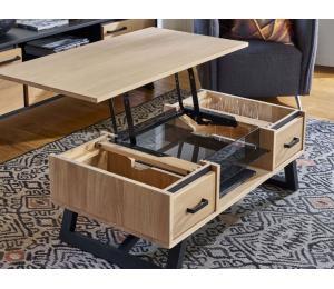 Table basse dinette ouverte, 2 coffres, 1 niche L110 H42 P60cm
