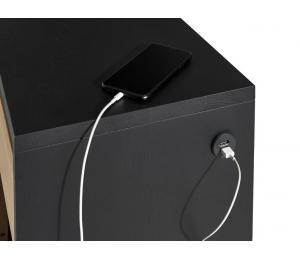 Détail chargeur : Meuble d'entrée 1 porte, 1 tiroir, 1 niche L80 H107 P33cm (avec double prise chargeur USB côté droit)