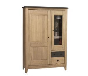 S Vitrine 1 porte pleine, 1 porte vitrée, 2 tiroirs L 116 H165 P46cm