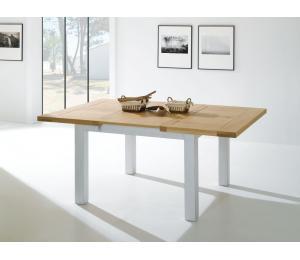 R Table carrée L125 x 125cm 1 allonge portefeuille de 56cm