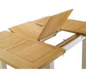 R Table carrée L125 x 125cm  détails 1 allonge portefeuille de 56cm