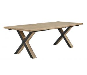 H Table pieds en X Bois et métal L160/200/240 x 100cm (possibilité de 2 allonges de 40cm en bout de table) (Les allonges ne se rangent pas dans la table)