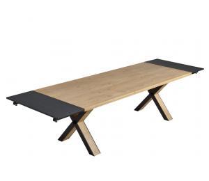 H Table pieds en X Bois et métal L160/200/240 x 100cm avec 2 allonges de 40cm en bout de table) (Les allonges ne se rangent pas dans la table)