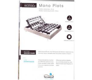 Sommier relevable MONO PLOTS hauteur version bois 20cm ou hauteur tissu ou simili 18cm