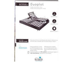 Sommier relevable DUOPLOT hauteur version bois 20cm ou hauteur version tissu ou simili hauteur 18cm
