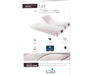 Matelas relevable LYS hauteur 24cm confort équilibré, contact moëlleux. Existe aussi en version relevable Mono