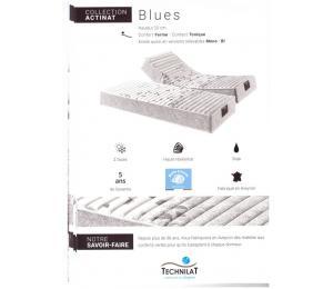 Matelas relevable BLUES hauteur 20cm confort ferme, contact tonique. Existe aussi en versions relevables Mono ou Bi